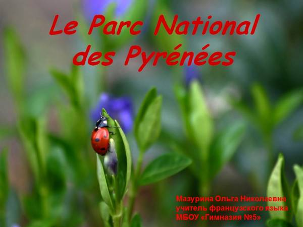 "Презентация по французскому языку ""Le Parc National des Pyrenees""; 10-11 класс"